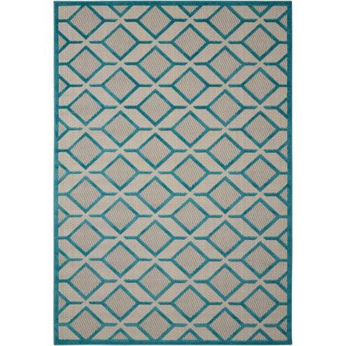 Nourison Aloha Blue Indoor/Outdoor Rectangular: 9 Ft. 6 In. x 13 Ft. Rug