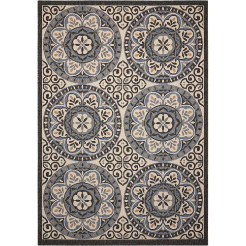 Caribbean Ivory and Charcoal Indoor/Outdoor Rectangular: 1 Ft. 9 In. x 2 Ft. 9 In. Rug
