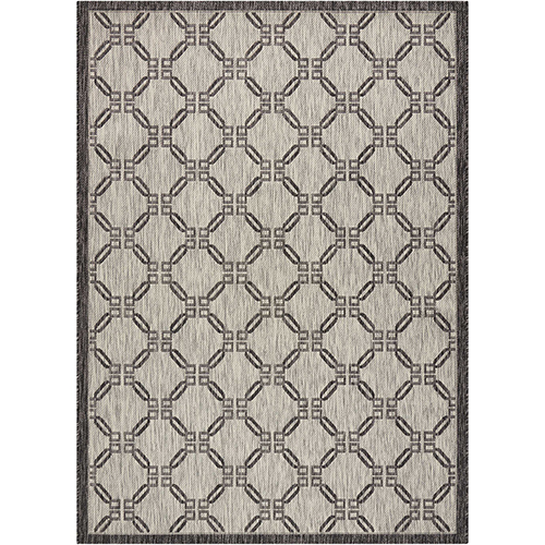 Garden Party Ivory and Charcoal Rectangular: 3 Ft. 6 In. x 5 Ft. 6 In. Indoor/Outdoor Rug