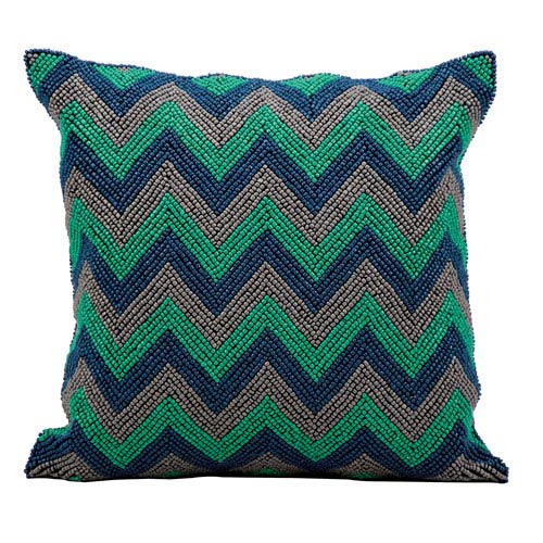 Blue and Grey 16-Inch Decorative Pillow