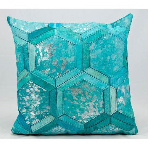 Turquoise and Silver 20-Inch Decorative Pillow
