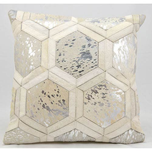 White and Silver 20-Inch Decorative Pillow