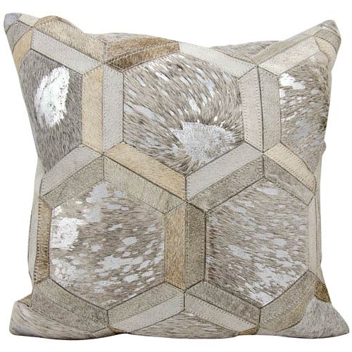 Grey and Silver 20-Inch Decorative Pillow