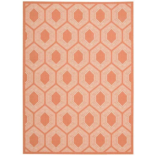 Waverly Rugs Sun and Shade Bubbly Tangerine Indoor/Outdoor Rectangular: 5 Ft. 3 In. x 7 Ft. 5 In. Rug