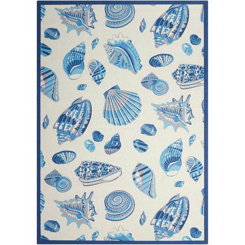Sun and Shade Low Tide Ivory Indoor/Outdoor Rectangular: 5 Ft. 3 In. x 7 Ft. 5 In. Rug