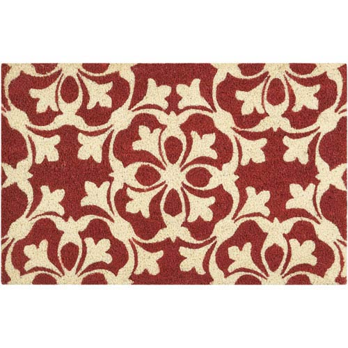 Greetings Courtyard Coral Rectangular: 1 Ft. 6 In. x 2 Ft. 4 In. Doormat