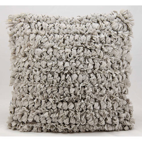 Shag Loop Shag Silver 20 In. Throw Pillow