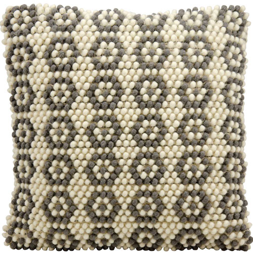 Life Styles Loop Flowers Ivory and Grey 20 In. Throw Pillow