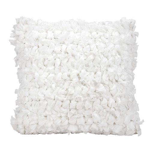 Shag Loop Shag White 16 In. Throw Pillow