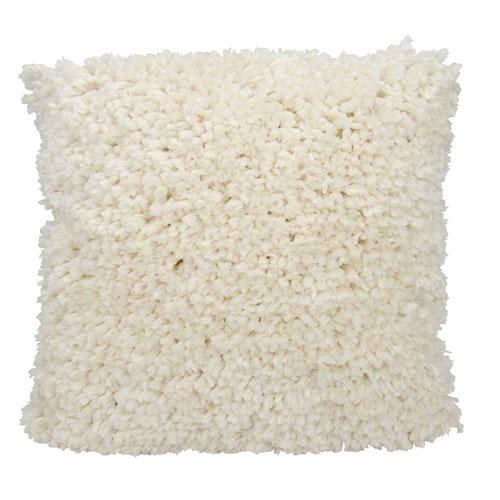 Shag Finger Yarn Cream 20 In. Throw Pillow