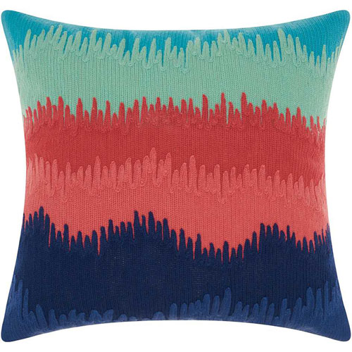Mina Victory Life Styles Paint Drip Stripes Multicolor 18 In. Throw Pillow