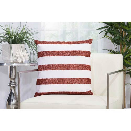 Beaded Stripes Red and White 20 In. Outdoor Throw Pillow with Polyester Fill