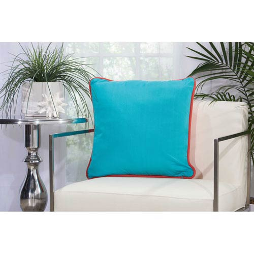Mina Victory 2 Sided Solid Corded Coral And Turquoise 20 In Outdoor