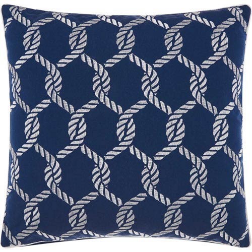 Woven Ropes Navy and White 20 In. Outdoor Throw Pillow with Polyester Fill