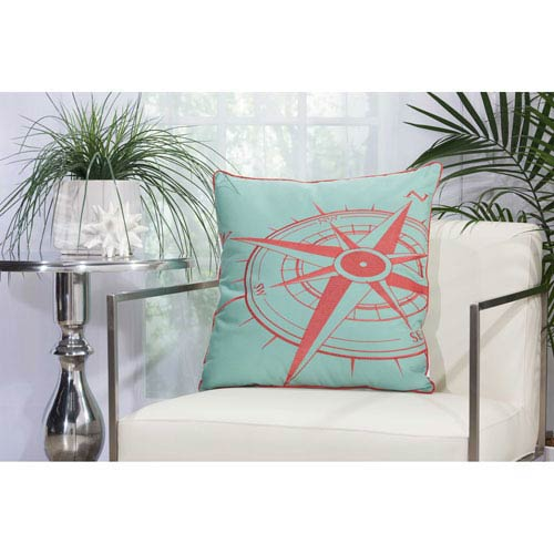Embellished Compass Aqua and Coral 20 In. Outdoor Throw Pillow with Polyester Fill