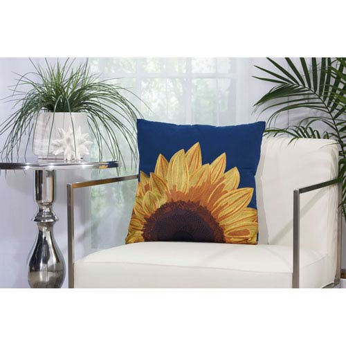 Embellished Sunflower Navy 18 In. Outdoor Throw Pillow with Polyester Fill