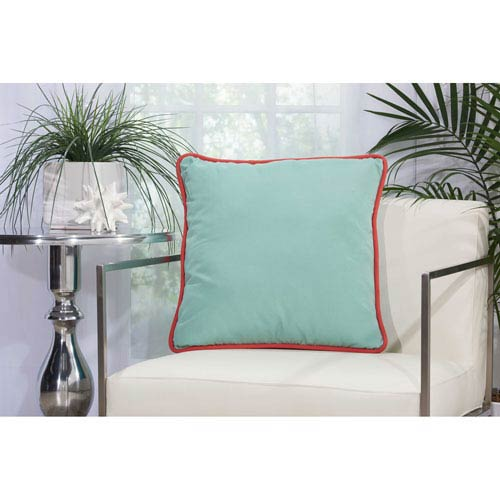 Three Color Solid and Cord Aqua Turquoise 20 In. Outdoor Throw Pillow with Polyester Fill