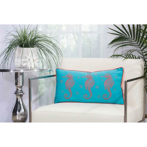 Three Seahorses Turquoise and Coral 12 In. x 22 In. Outdoor Throw Pillow with Polyester Fill