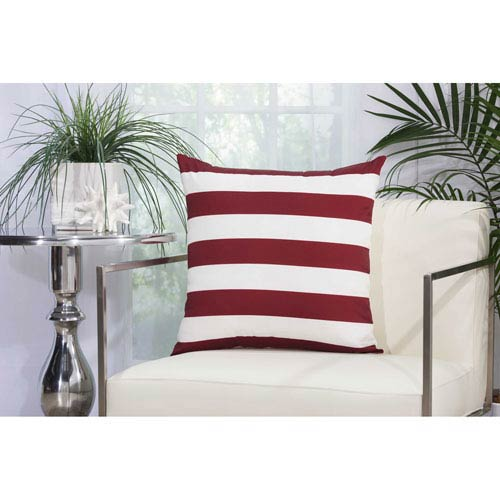 Stripes Red and White 20 In. Outdoor Throw Pillow with Polyester Fill