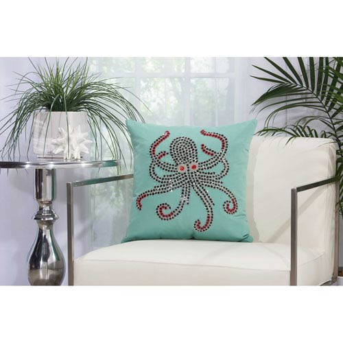 Beaded Octopus Aqua and Coral 18 In. Outdoor Throw Pillow with Polyester Fill