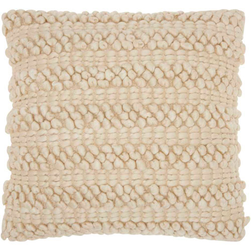 Mina Victory Life Styles Woven Stripes Beige 20 In. Throw Pillow