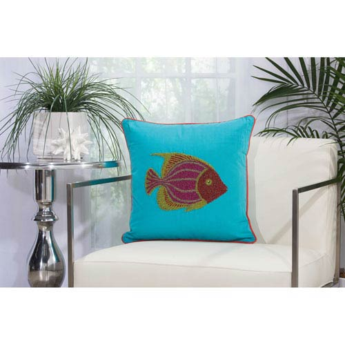 Beaded Fish Turquoise and Coral 18 In. Outdoor Throw Pillow with Polyester Fill