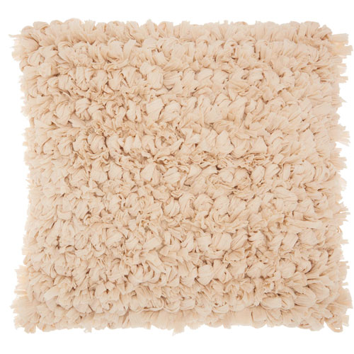 Mina Victory Shag Paper Loop Shag Beige 16 In. Throw Pillow