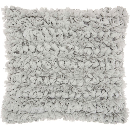 Shag Paper Loop Shag Silver 16 In. Throw Pillow