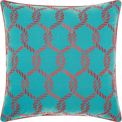 Woven Ropes Turquoise and Coral 20 In. Outdoor Throw Pillow with Polyester Fill