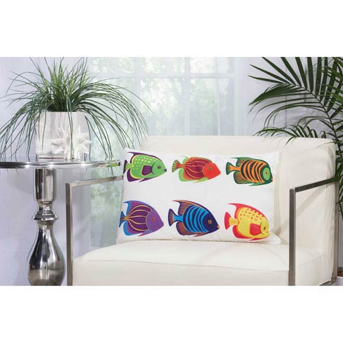 Mina Victory Six Tropical Fish Multicolor 14 In. x 22 In. Outdoor Throw Pillow with Polyester Fill