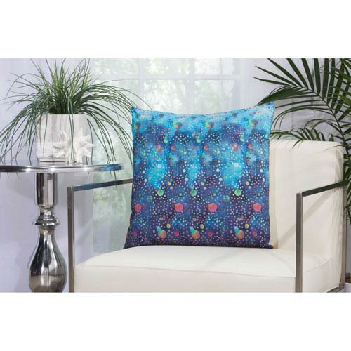 Watercolor Dots Multicolor 20 In. Outdoor Throw Pillow with Polyester Fill
