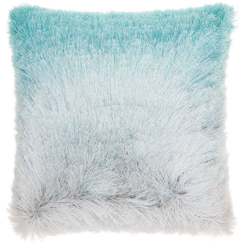 Mina Victory Shag Illusion Shag Turquoise and Silver 20 In. Throw Pillow