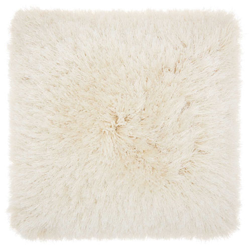 Mina Victory Shag Yarn Shimmer Shag Cream 20 In. Throw Pillow