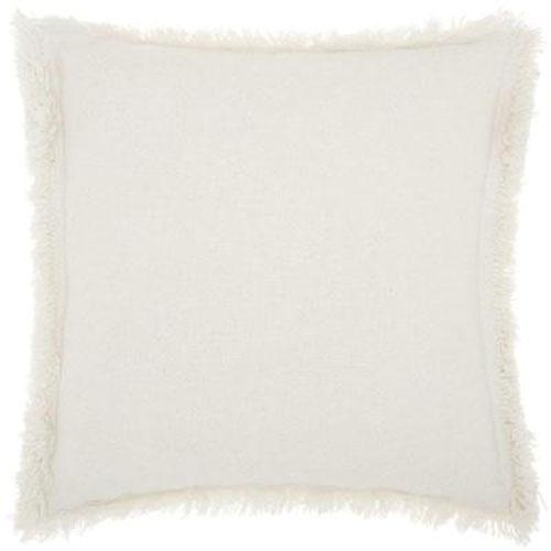 Life Styles Stonewash Fringe White 20 In. Throw Pillow