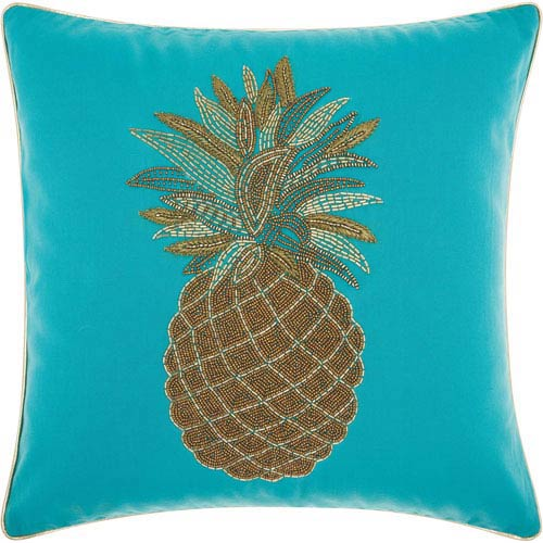 Beaded Pineapple Turquoise 18 In. Outdoor Throw Pillow with Polyester Fill