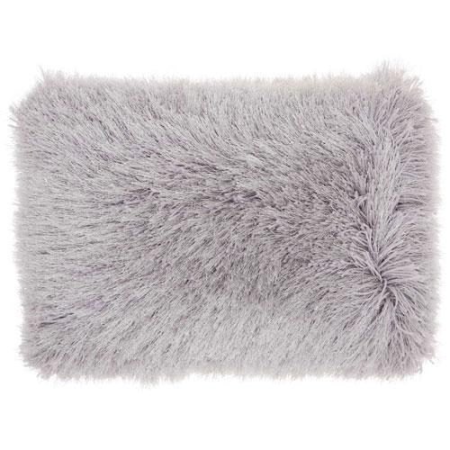 Shag Yarn Shimmer Shag Light Grey 14 x 20 In. Throw Pillow