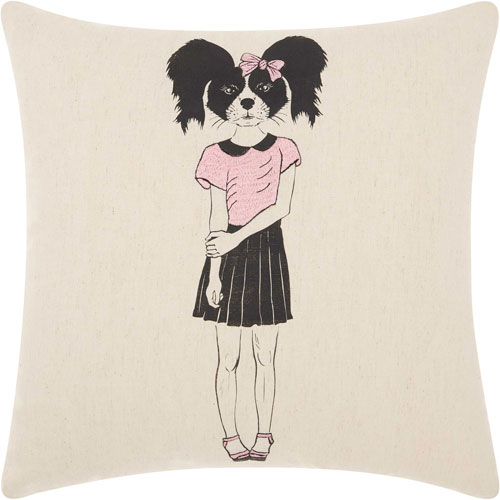 Mina Victory Trendy, Hip and New-Age Cute Girl Collie Natural 18 In. Throw Pillow