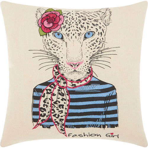 Mina Victory Trendy, Hip and New-Age Scarf Snow Leopard Natural 18 In. Throw Pillow