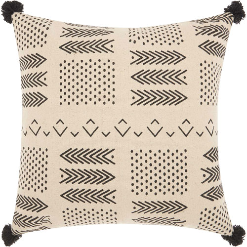 Mina Victory Life Styles Small Arrows and Dots Ivory and Black 18 In. Throw Pillow