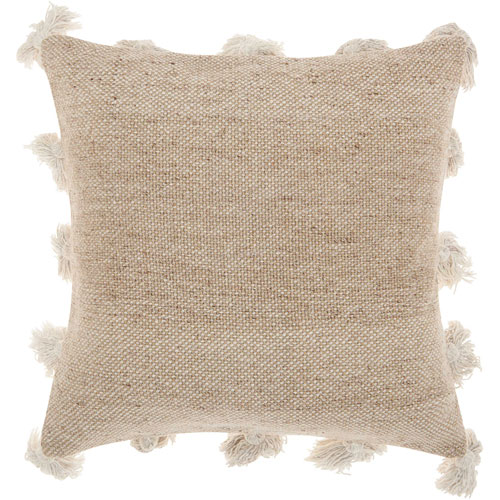 Life Styles Tassel Border Beige 18 In. Throw Pillow
