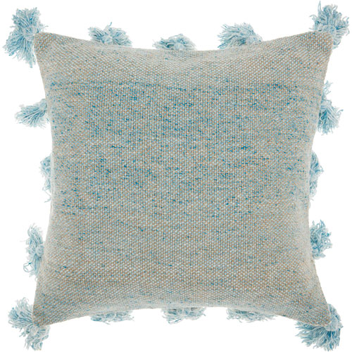 Mina Victory Life Styles Tassel Border Blue 18 In. Throw Pillow