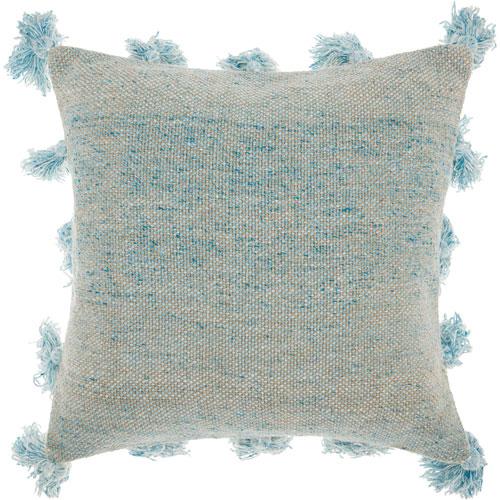 Life Styles Tassel Border Blue 18 In. Throw Pillow