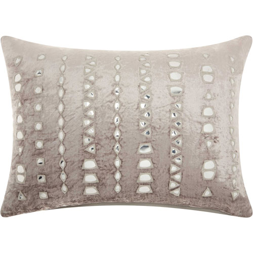 Life Styles Velvet Mirror Stripe Silver and Grey 14 x 20 In. Throw Pillow