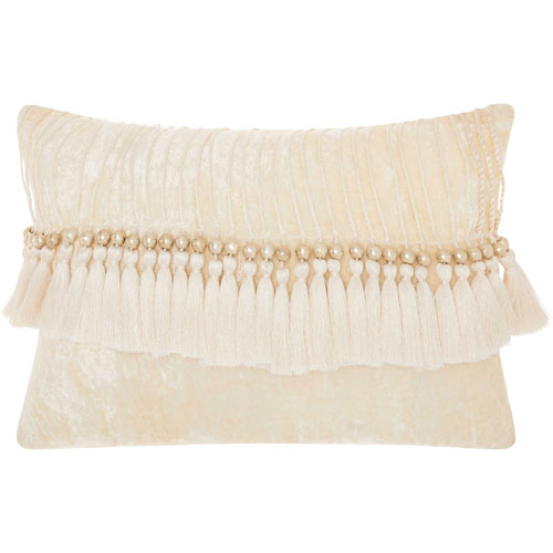 Mina Victory Life Styles Velvet Tassels Ivory 14 x 20 In. Throw Pillow
