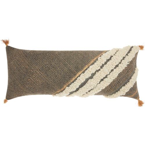 Life Styles Met Boho Diagonal Texture Grey 16 x 33 In. Throw Pillow