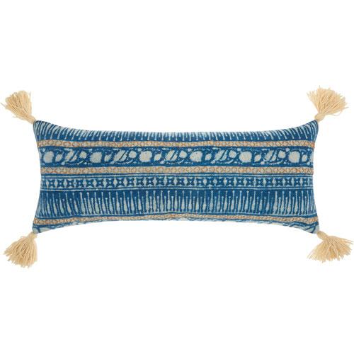 Life Styles Boho Stitches Print Blue 13 x 33 In. Throw Pillow