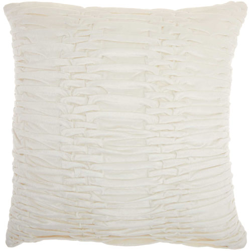 Life Styles Ruched Velvet Cream 18 In. Throw Pillow