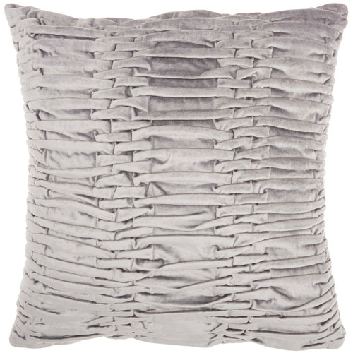 Life Styles Ruched Velvet Light Grey 18 In. Throw Pillow