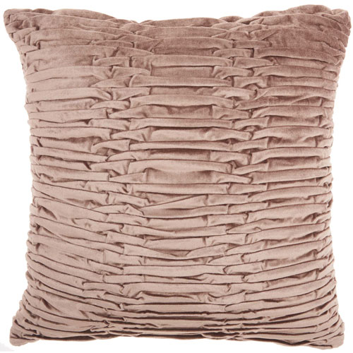 Mina Victory Life Styles Ruched Velvet Nude 18 In. Throw Pillow