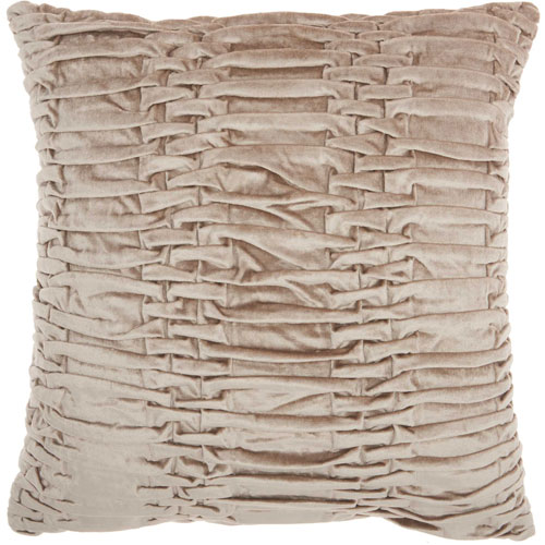 Life Styles Ruched Velvet Beige 18 In. Throw Pillow